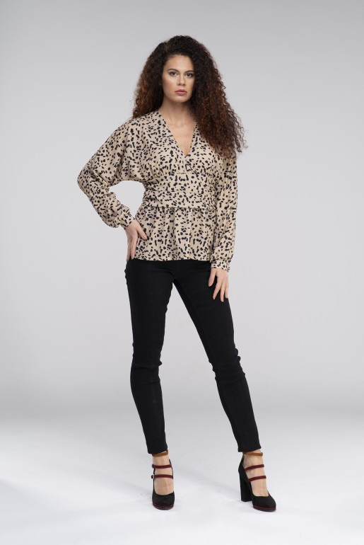 BLOUSE WITH PLUNGE IN Cheetah PRINT