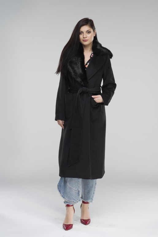 FAUX FUR COLLAR TIE COAT