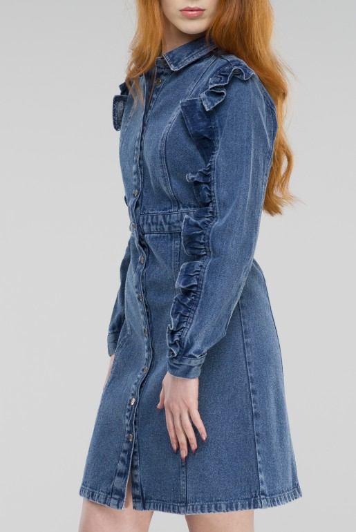 DENIM SHIRT DRESS WITH FRILL SLEEVE - Image 3