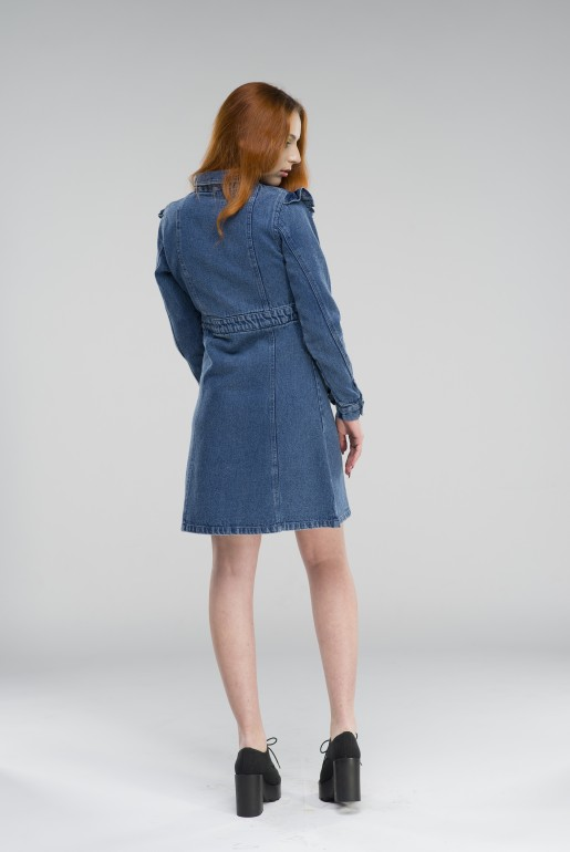 DENIM SHIRT DRESS WITH FRILL SLEEVE - Image 5