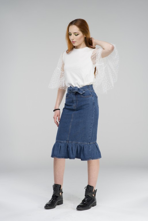RUFFLE HEM DENIM PENCIL SKIRT