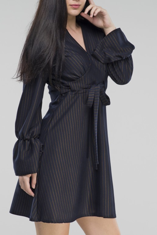 Pinstripe Fit & Flare Dress