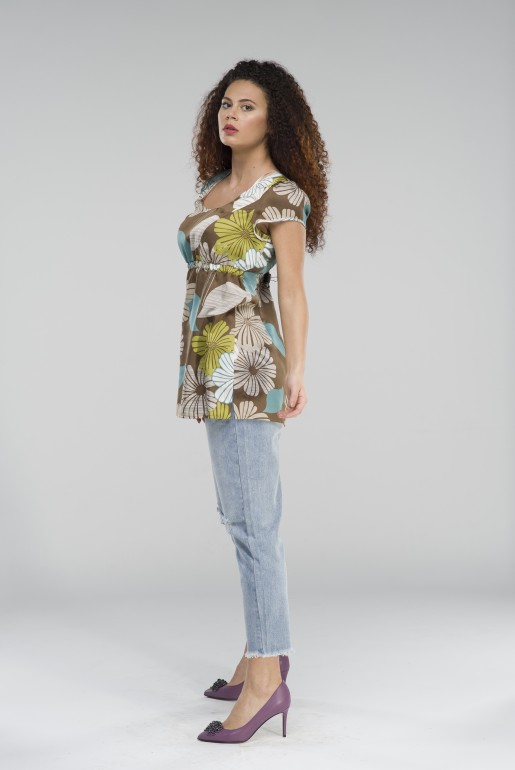 Tunic in light brown with floral print - Image 2