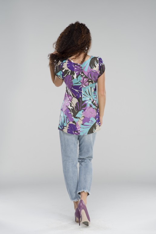 Tunic in purple with floral print - Image 3