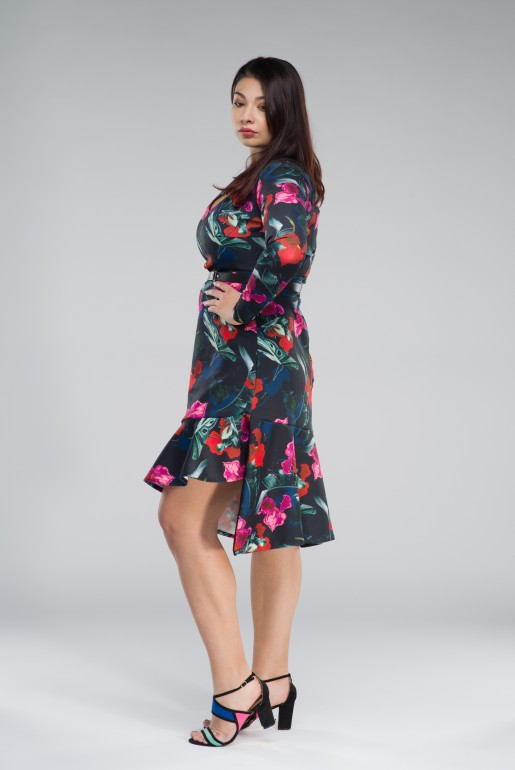 BODYCON DRESS IN WINTER ORCHID PRINT - Image 4