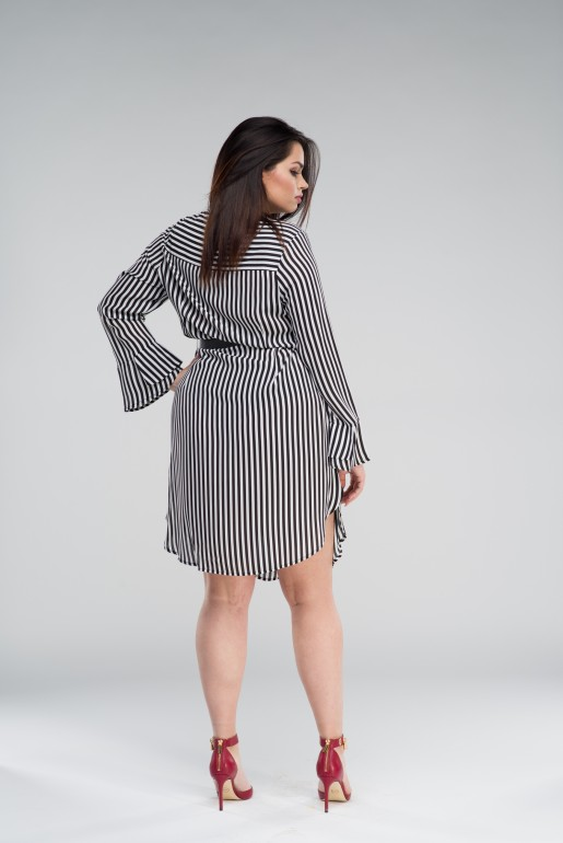 SHIRT DRESS IN STRIPE WITH BELT - Image 3