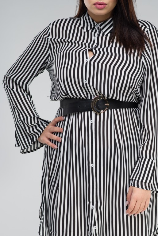 SHIRT DRESS IN STRIPE WITH BELT - Image 4