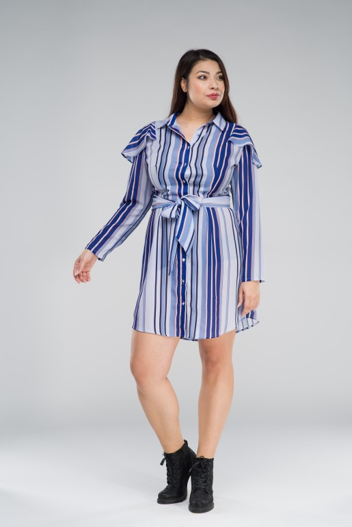 SHIRT DRESS IN STRIPE WITH FRILLS