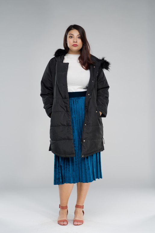 PADDED COAT WITH FAUX FUR HOOD - Image 3