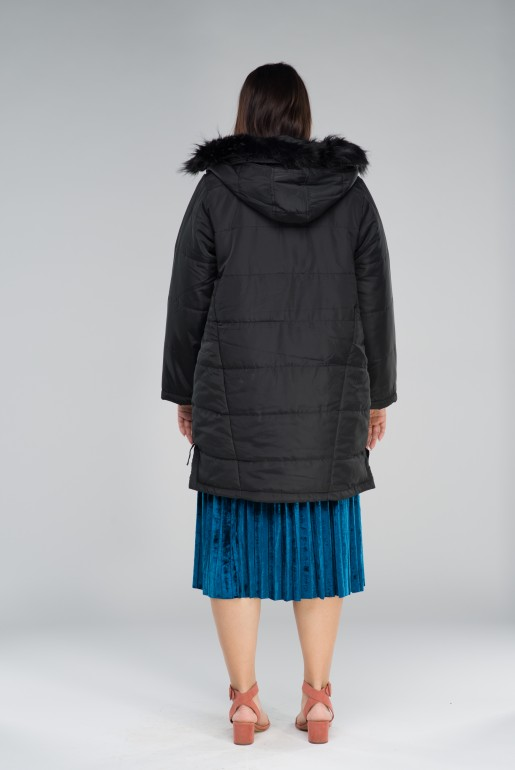 PADDED COAT WITH FAUX FUR HOOD - Image 5