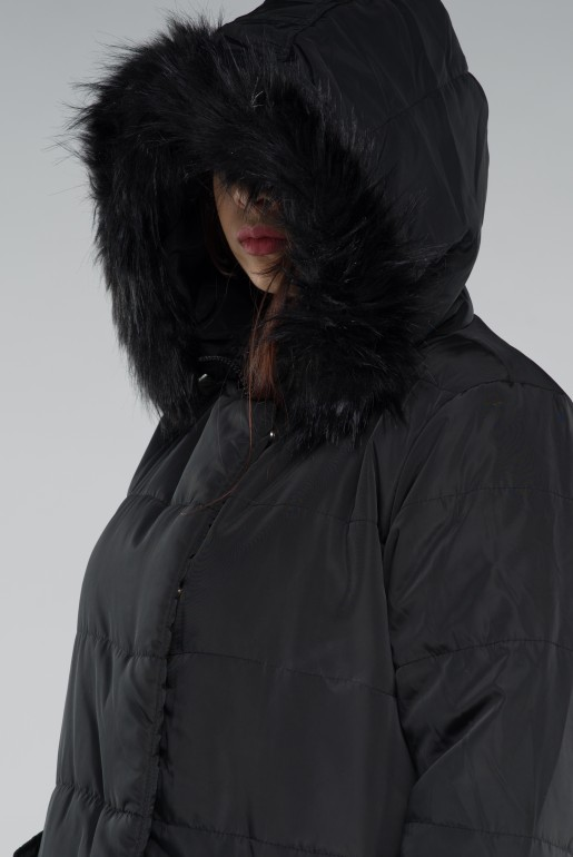 PADDED COAT WITH FAUX FUR HOOD - Image 2