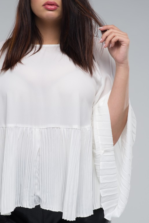 SMOCK TOP WITH PLEATED HEM - Image 4