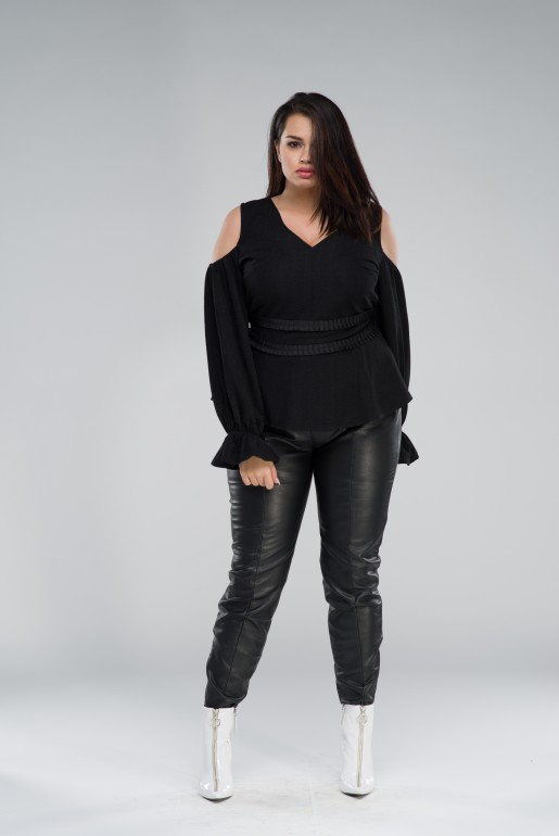 COLD SHOULDER TOP WITH PLEATED WAIST - Image 1