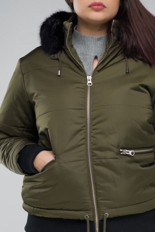 PADDED JACKET WITH FUR TRIM - Image 3