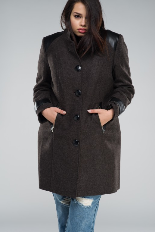 WOOL COAT MARTYNA IN DARK BROWN