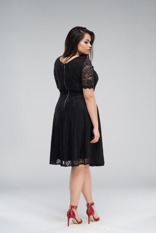 flared black dress in Lace - Image 3