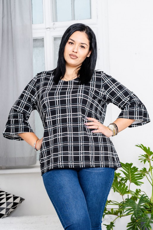 Maxi black plaid blouse