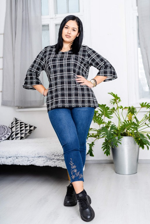 Maxi black plaid blouse - Image 3