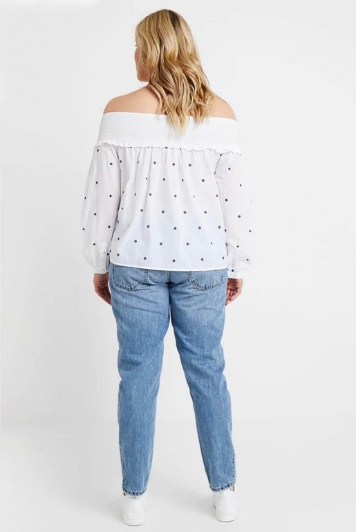 BARDOT TOP IN EMBROIDERED DOBBY - Image 5