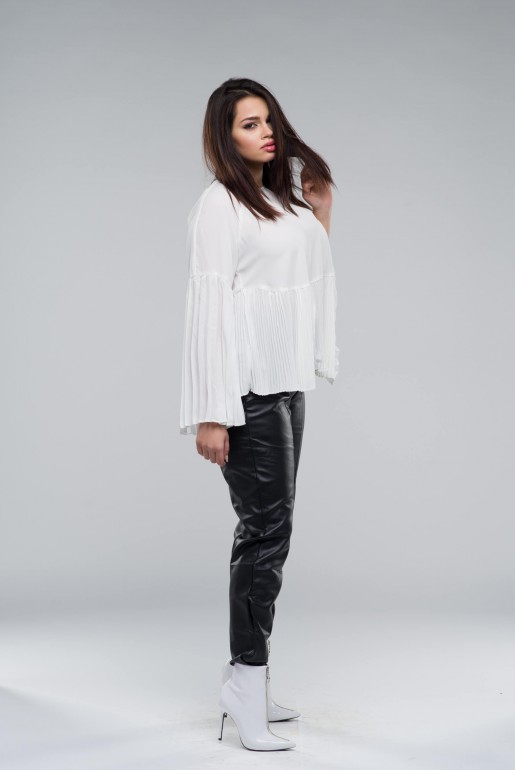 SMOCK TOP WITH PLEATED HEM - Image 2