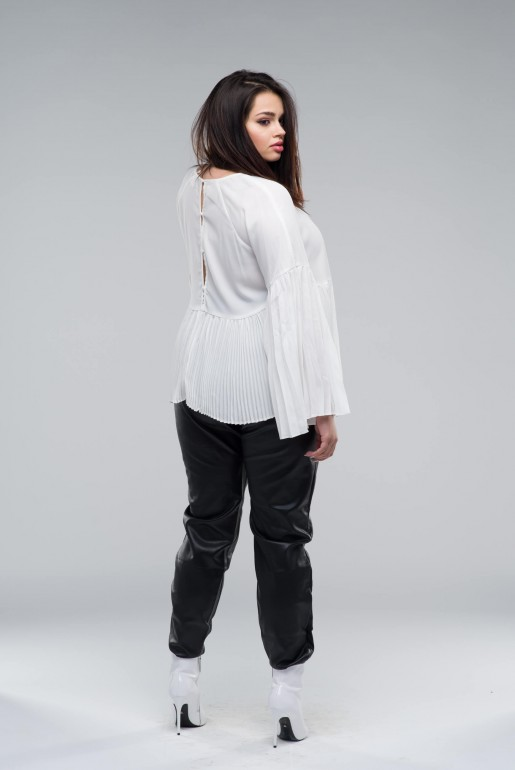 SMOCK TOP WITH PLEATED HEM - Image 3