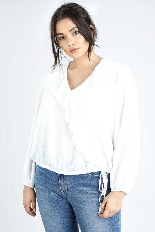 WRAP BLOUSE IN SELF STRIPE - Image 2