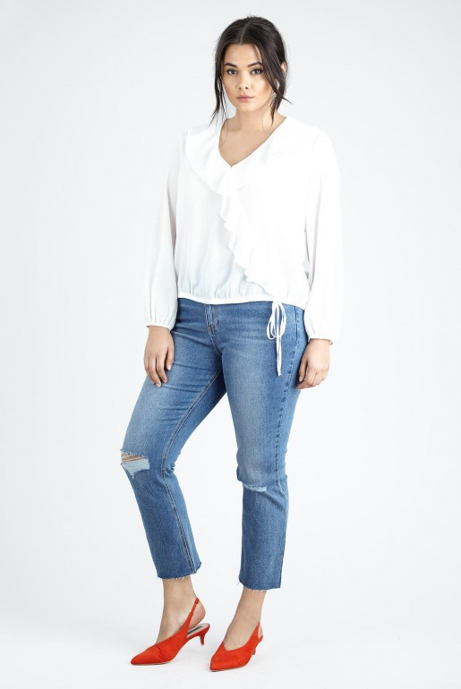 WRAP BLOUSE IN SELF STRIPE - Image 3