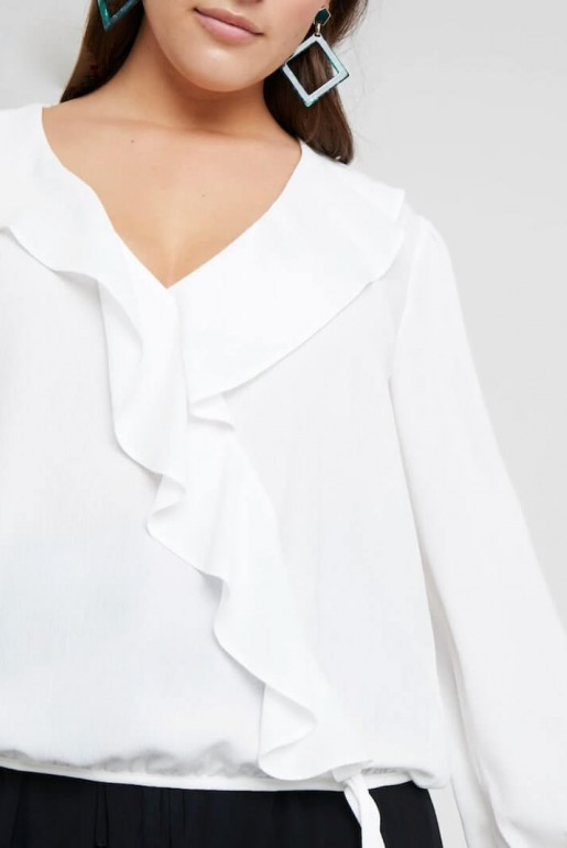 WRAP BLOUSE IN SELF STRIPE - Image 7