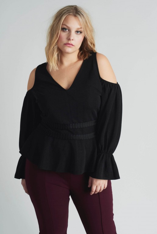 COLD SHOULDER TOP WITH PLEATED WAIST - Image 2