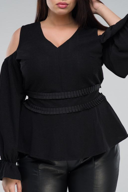 COLD SHOULDER TOP WITH PLEATED WAIST - Image 5