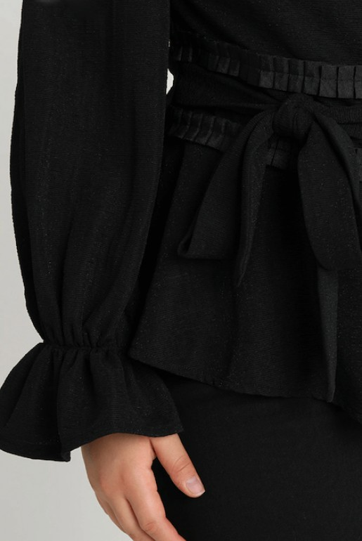 COLD SHOULDER TOP WITH PLEATED WAIST - Image 6