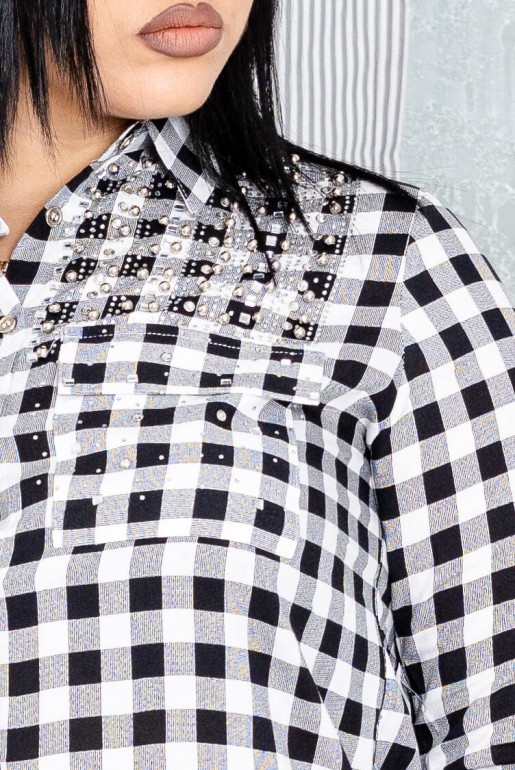 Maxi white plaid shirt with stones