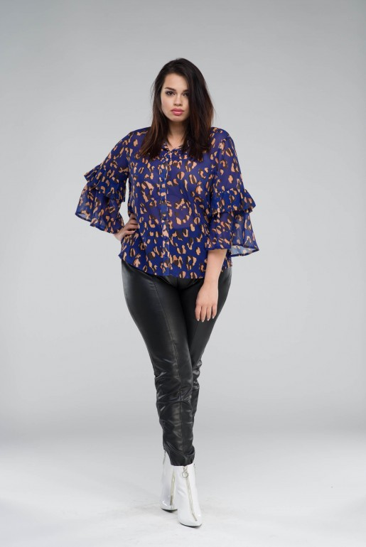 SHIRT IN LEOPARD PRINT WITH FLUTED CUFF - Image 6