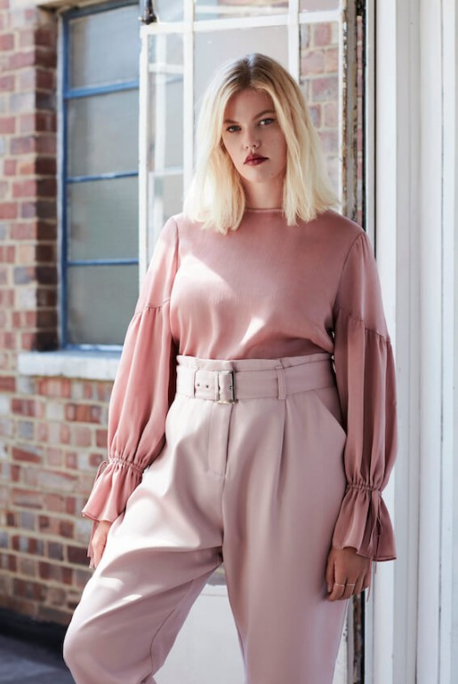 SATIN TOP WITH PEPLUM