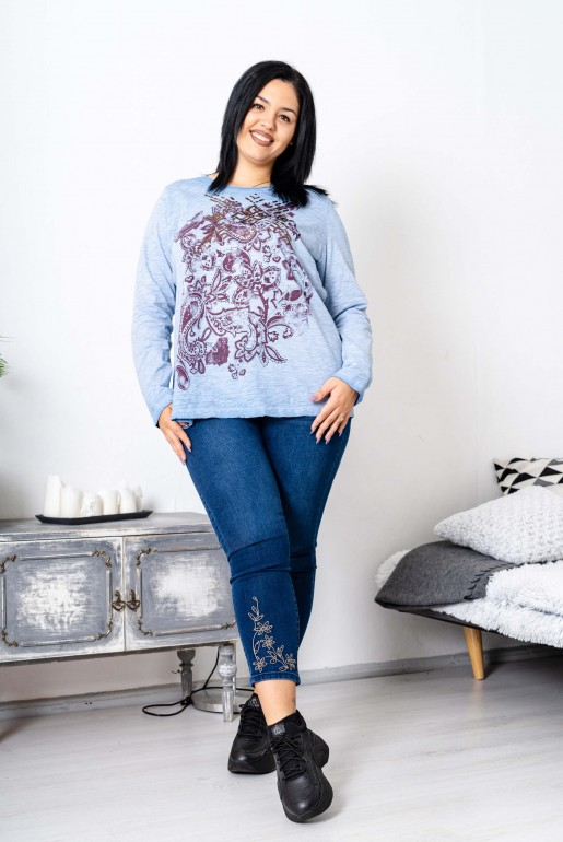 Maxi blue blouse with purple print - Image 2