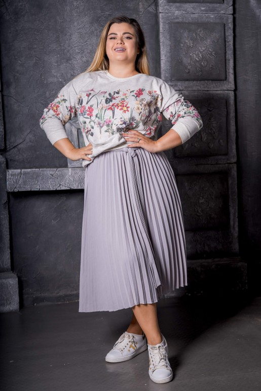 Maxi gray sweatshirt with floral print - Image 3