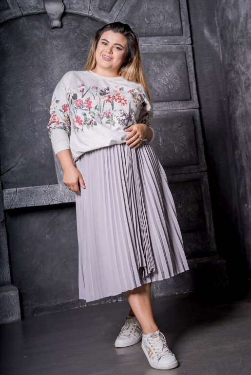 Maxi gray sweatshirt with floral print