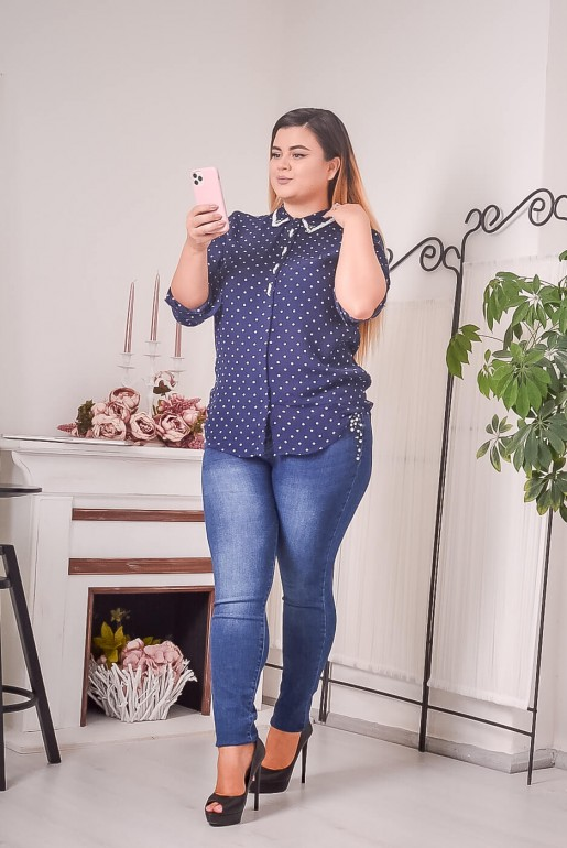 Dark blue polka dot shirt with beads