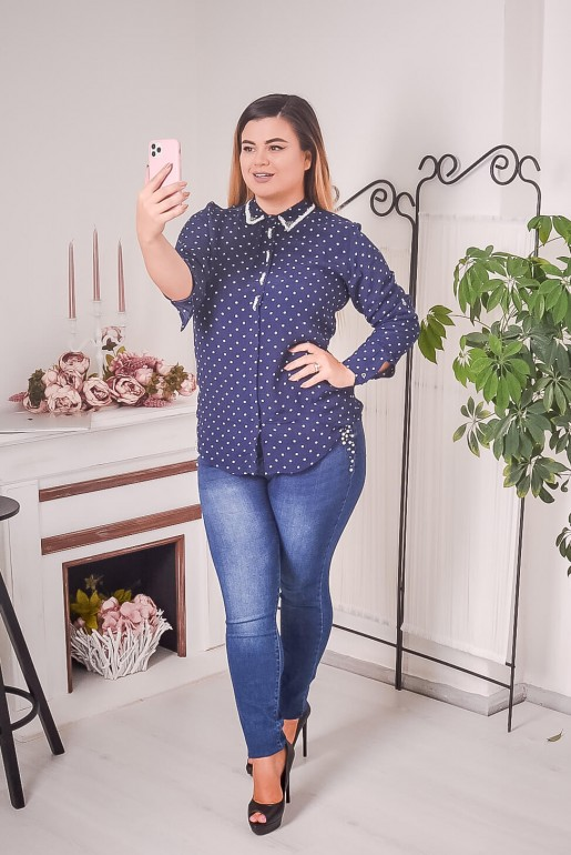 Dark blue polka dot shirt with beads - Image 6