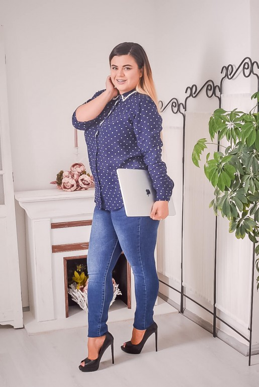 Dark blue polka dot shirt with beads - Image 3