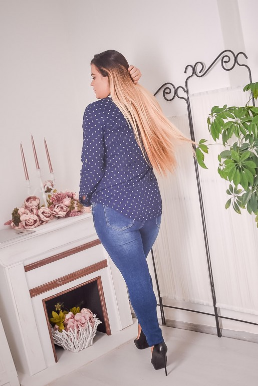 Dark blue polka dot shirt with beads - Image 4
