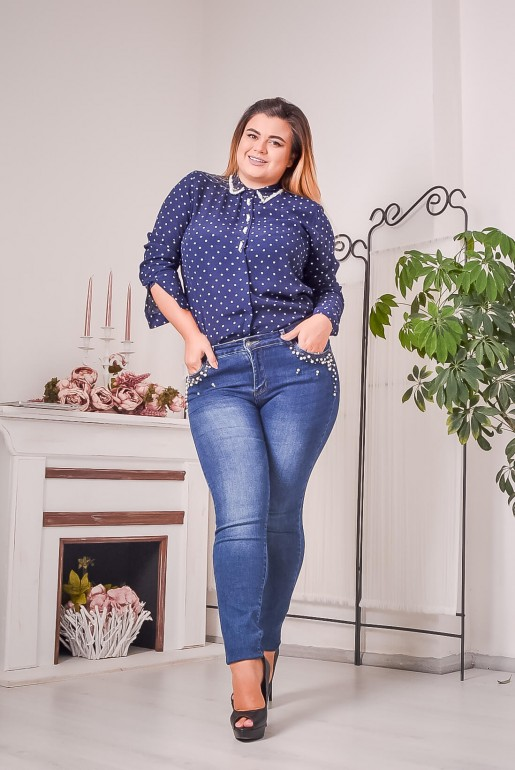 Dark blue polka dot shirt with beads - Image 5