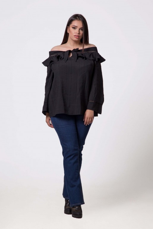 BARDOT TOP WITH RUFFLE