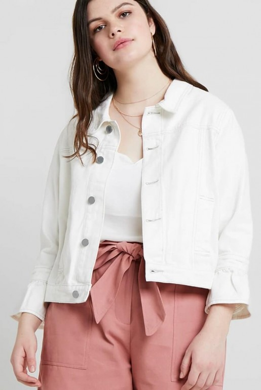DENIM JACKET WITH FRILL SLEEVES