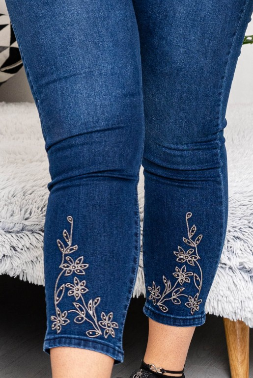 Maxi Skinny Jeans with stones and embroidery