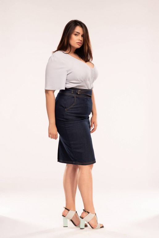 DENIM SKIRT WITH BUCKLES - Image 3
