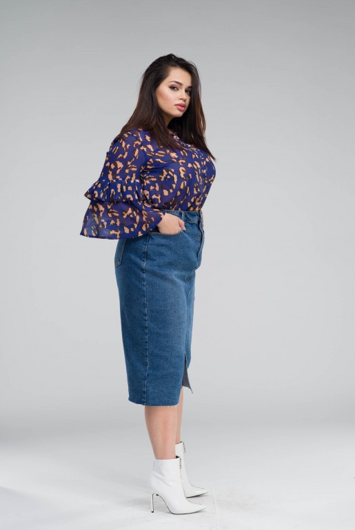 DENIM PENCIL SKIRT IN MID BLUE - Image 3