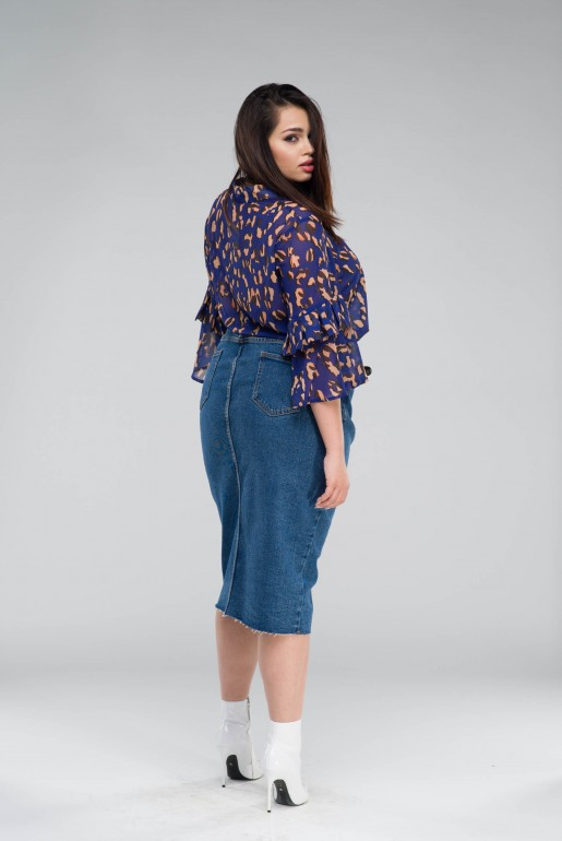 DENIM PENCIL SKIRT IN MID BLUE - Image 4