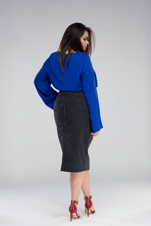 DENIM PENCIL SKIRT IN WASHED BLACK - Image 4