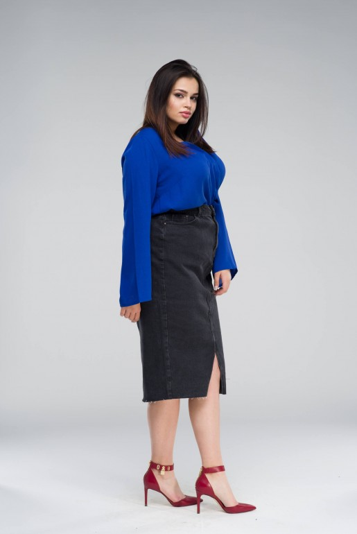 DENIM PENCIL SKIRT IN WASHED BLACK - Image 3